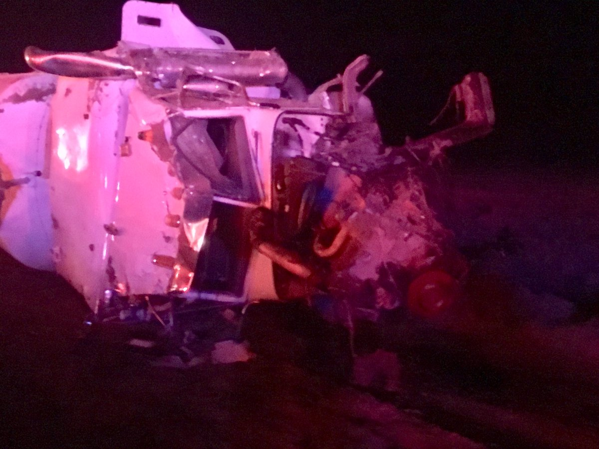 Person dies in head-on collision between oil tanker and pickup on Highway 166