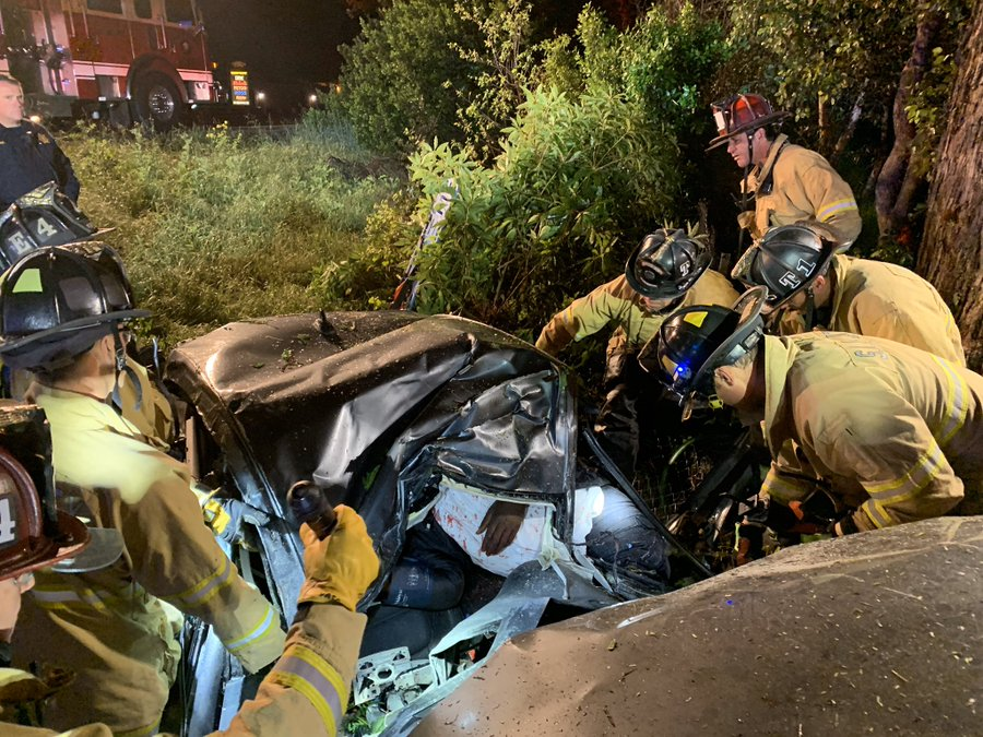 Driver extricated after crash in SLO (Video)